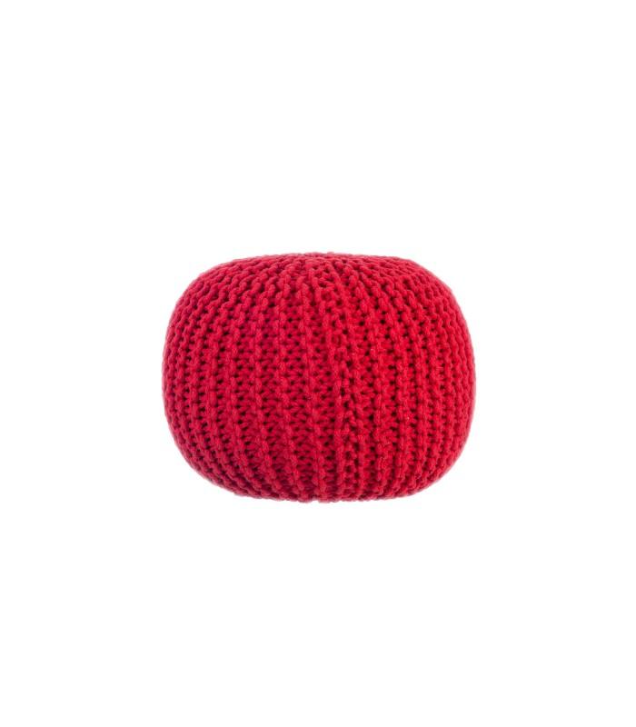 pouf-tricot-design-en-coton-rouge