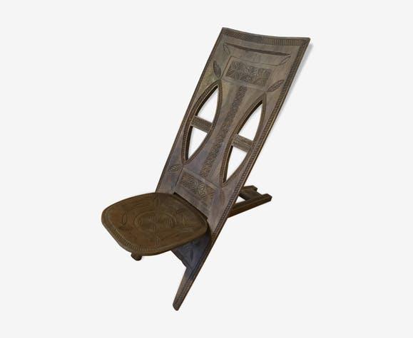 grande chaise a palabre en bois sculpte original entre zen et d co. Black Bedroom Furniture Sets. Home Design Ideas